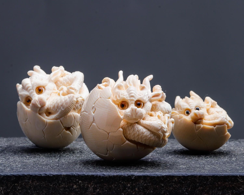 【龙蛋】 精选爆满纹原色牙料,虫虫大师手工精雕,猛犸牙多少钱一克?